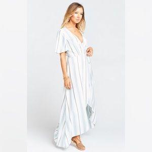 Wrap dress in Blue stripes